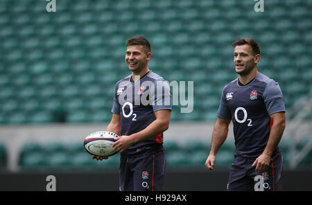 England's Ben Youngs and Danny Care during a training session at Twickenham Stadium, London. - Stock Photo