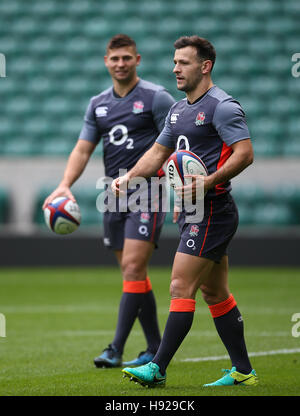 England's Danny Care and Ben Youngs during a training session at Twickenham Stadium, London. - Stock Photo