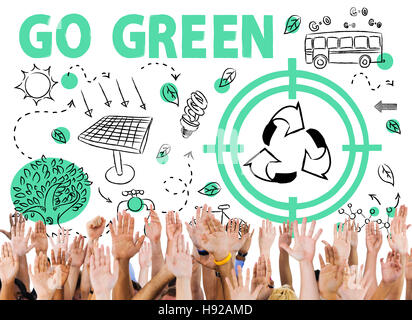 Go Green Reuse Sun Bus Arrow Concept - Stock Photo
