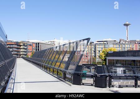 The pedestrian bridge walkway over the railroad in Seattle (Washington). - Stock Photo