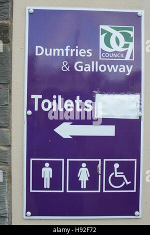 Toilet sign, Dumfries and Galloway - Stock Photo