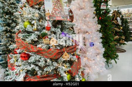 Seasonal Christmas display in a KMart store in New York on Tuesday, November 15, 2016.  (© Richard B. Levine) - Stock Photo