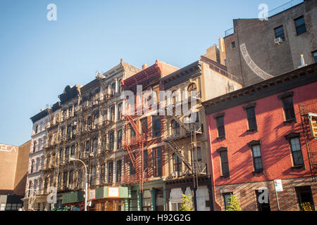Cast iron and brick facade buildings in the New York neighborhood of Tribeca seen on Sunday, November 13, 2016. - Stock Photo