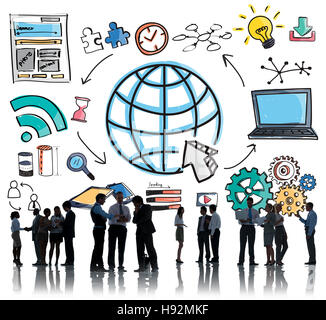 Technology Global Web Media Drawing Concept - Stock Photo