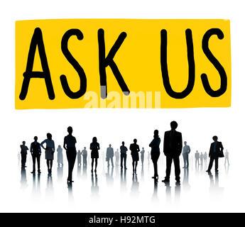 Ask Us Inquiries Questions Concerns Contact Concept - Stock Photo