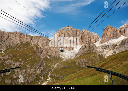 Cable car up to Canazei Ski resort - Stock Photo