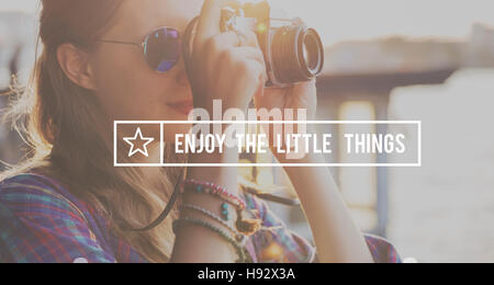 Enjoy The Little Things Enjoyment Happiness Joy Concept - Stock Photo