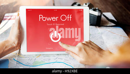 Power Off Touchscreen Display Concept - Stock Photo