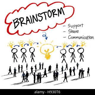 Brainstorming Thinking Support Share Communication Concept - Stock Photo