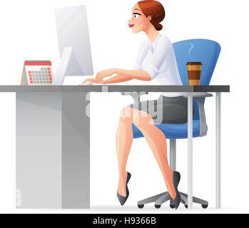 Business woman working in office with desktop computer. Vector illustration. - Stock Photo
