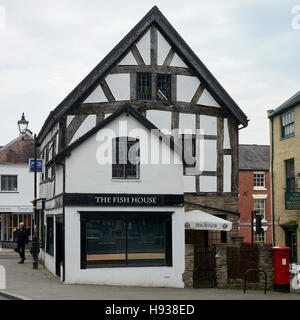 The Fish House is located in a typical Tudor style black and white Stock Photo ...