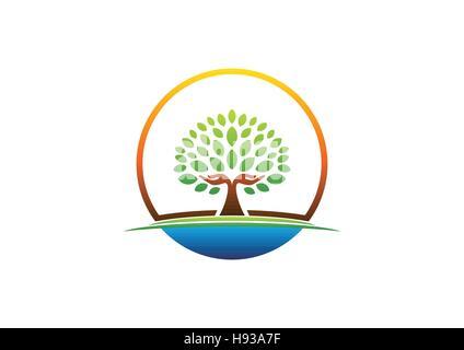 hand tree logo, circle natural hands tree symbol, circle wellness icon, yoga health care vector design - Stock Photo