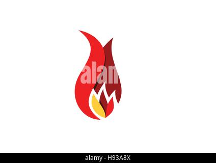 fire, flame, logo, hot fire symbol icon design vector, modern red colors sign flames logotype - Stock Photo