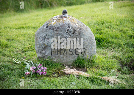 Battle of Culloden clan memorial stone marker (Clan Fraser).
