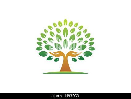 hand tree logo, natural hands tree wellness concept icon, yoga health care symbol vector design - Stock Photo