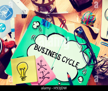 Business Cycle Income Profit Loss Recession Concept - Stock Photo