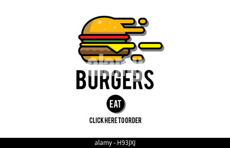 Burgers Online Buying Junk Food Nourishment Concept - Stock Photo