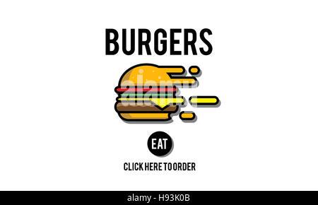 Burgers Online Buying Junk Food Nourishment Concept - Stock Photo