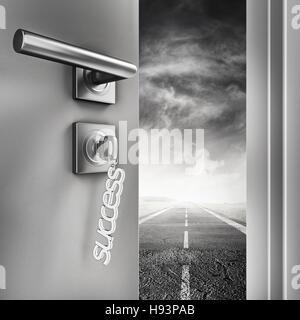 3D Rendering open success door - Stock Photo