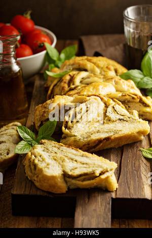 Braided pesto bread - Stock Photo