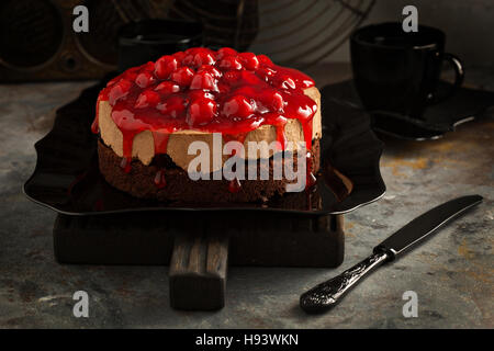 Chocolate cherry mousse cake - Stock Photo