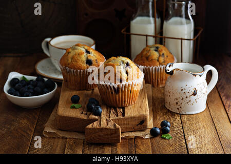 Freshly baked blueberry muffins in a rustic setting - Stock Photo