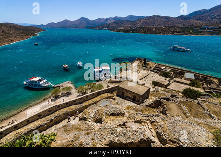 CRETE, GREECE - JULY 11, 2016: View of the Gulf of Elounda from a fortress on Spinalonga island. - Stock Photo