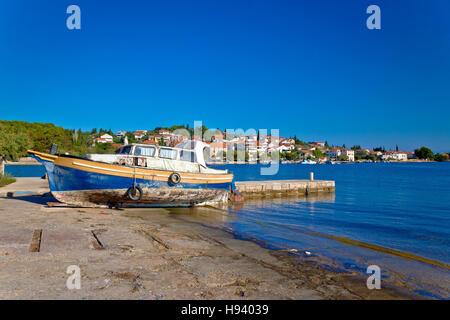 Island of Ugljan old boat by the sea, Dalmatia, Croatia - Stock Photo