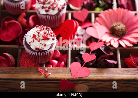 Red decorations for Valentines day - Stock Photo