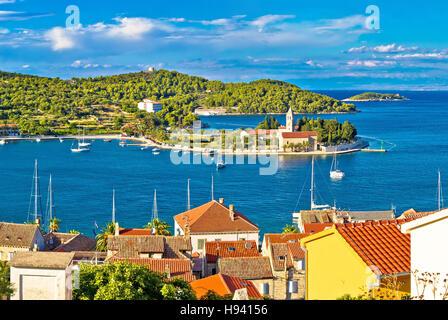 Harbor of Vis island panorama, Dalmatia, Croatia - Stock Photo