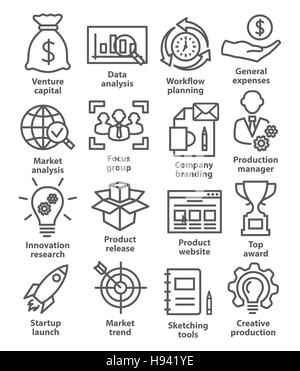 Startup business and development icons in line style on white - Stock Photo