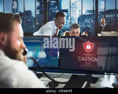 Beware Caution Dangerous Hacking Concept - Stock Photo