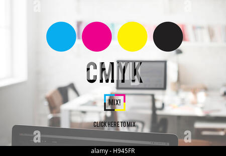 CMYK Cyan Magenta Yellow Key Color Printing Process Concept - Stock Photo