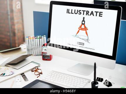 Illustrate Create Imagination Ideas Artistic Concept - Stock Photo
