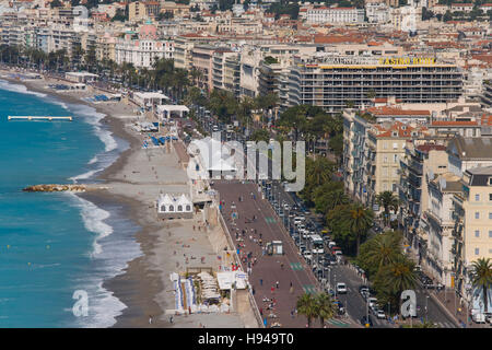 View from the castle hill on the Promenade des Anglais, the beach, sea, traffic, Nice, Cote d'Azur, France - Stock Photo