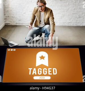 Tagged Bookmark Content Web Online Management Concept - Stock Photo