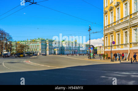 The view on the  Winter Palace from the Nevsky Prospect - the main street of the city - Stock Photo