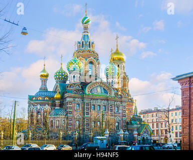 The colorful decorated Church of the Savior on Blood looks like a building from fairy tail - Stock Photo