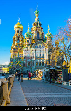 The view on the Church of the Savior on Blood from the Griboedov Canal Embankment - Stock Photo