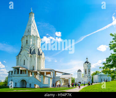 The view on Ascension Church in Kolomenskoye, one of the first tent-roof stone churches in Russia - Stock Photo