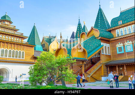 The scenic porch of the wooden Palace of Tsar Alexei Mikhailovich with the figured canopy, covered with tiles - Stock Photo