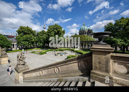 Berlin. Germany. View from the Alte Nationalgalerie on Museum Island towards the Fernsehturm and Berliner Dom. - Stock Photo