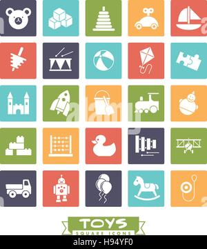 Collection of square colored children's toys icons - Stock Photo