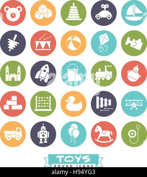 Collection of colored round children's toys icons - Stock Photo