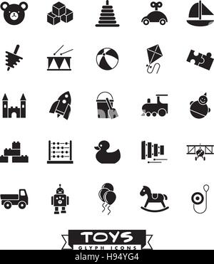 Collection of solid black children's toys icons - Stock Photo