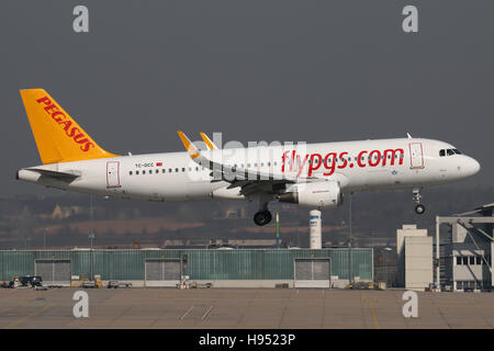 Stuttgart, Germany – March 18, 2016: Pegasus, Airbus A320 is landing at Stuttgart Airport - Stock Photo