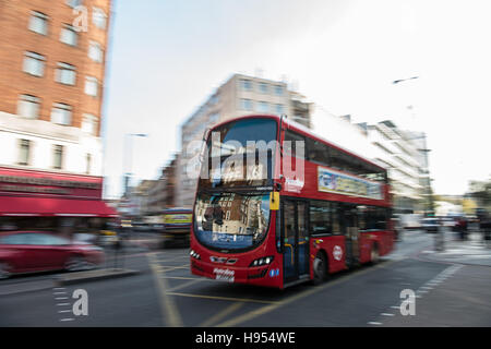 London, UK. 11th Nov, 2016. A bus travelling down a street in London, England, 11 November 2016. Photo: Wolfram - Stock Photo