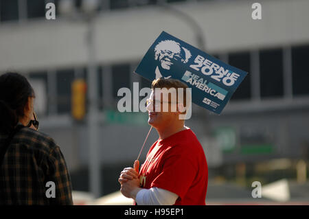 Philadelphia, Pennsylvania, USA. 19th November, 2016. Protester is seen holding a sign in  support of Bernie Sanders - Stock Photo