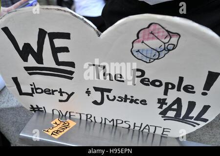 Philadelphia, Pennsylvania, USA. 19th November, 2016. Hundreds participate in ongoing Anti-Trump protests, on Nov. - Stock Photo