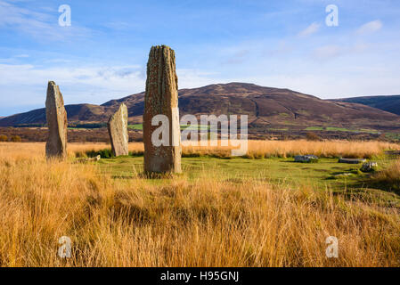 Machrie Moor stone circles, Isle of Arran, North Ayrshire, Scotland - Stock Photo